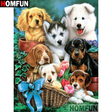 HOMFUN Full Square/Round Drill 5D DIY Diamond Painting Dog family 3D Embroidery Cross Stitch Home Decor A21345