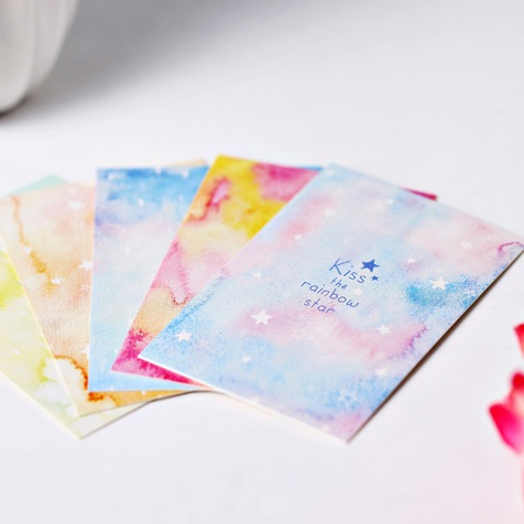 multi-use 5.2*8cm 54pcs Mini Rainbow Star design Scrapbooking party invitation cards valentine Christmas Scrapbooking