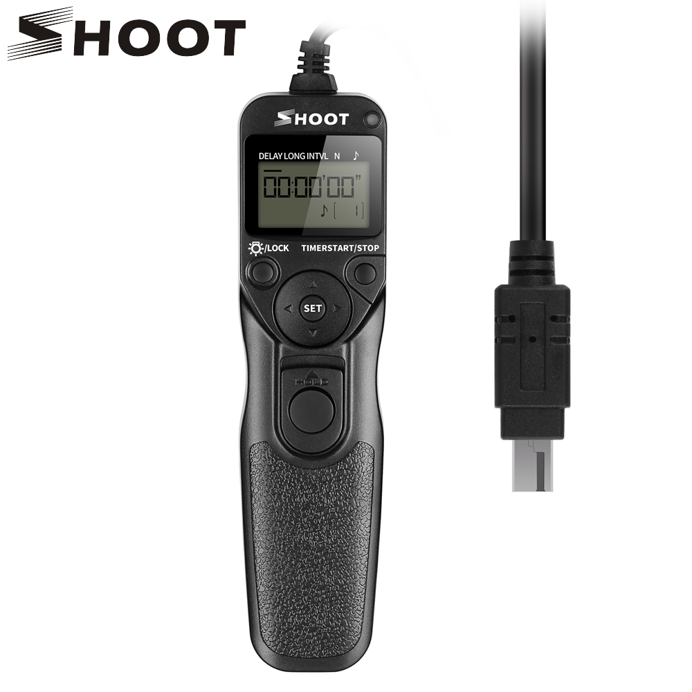 SHOOT MC-DC2 Timer Shutter Remote Control for Nikon D90 D600 D610 3100 D3200 D3300 D5000 D5100 D5200 D5300 Digital SLR Cameras 2 5mm remote shutter release cable connecting for nikon df d750 d7100 d5500 d5300 d3200 d3300 d600 d610 d90 as 3n n3 dc2 cable m