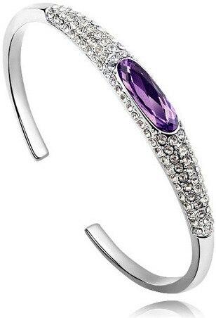 Австрийский Кристалл глаз тапочки AAAA+ стразы манжета жесткий Браслет Подарочный качество модные ювелирные изделия Прямая поставка Новое поступление - Окраска металла: silver purple