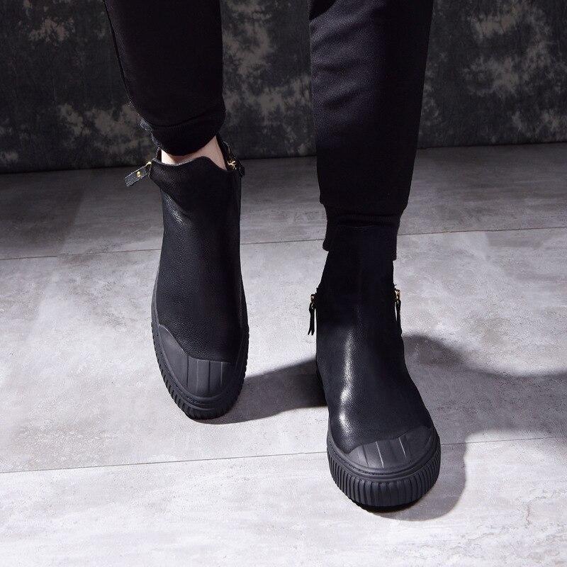Couro Zipper Altos Homens Preto 2017 Sapatos Botas Retro Montaria De Match Coreano Para Britânico Tendência Nova Um Respirável Os Todos TwpWIwnB8