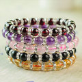 iVeeka 100% Natural Stone Strand Bracelet for Girls Trendy Gifts Package Rose Quartz Citrine Garnet Amethyst Jewelry