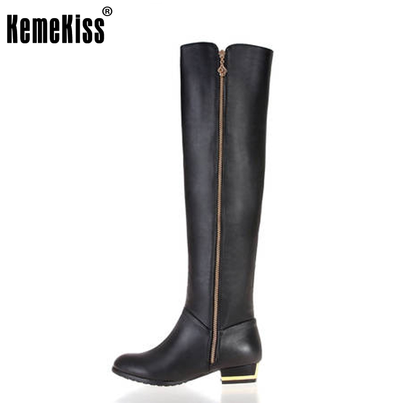 Free shipping over knee natrual real genuine leather flat boots women snow warm boot shoes KEMEKISS R1537 EUR size 30-45 цены онлайн