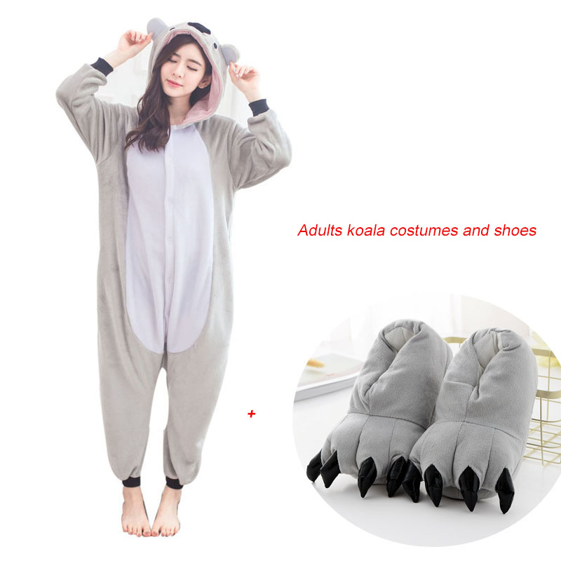 Kids Funny Koala Onesies Flannel One-Piece Pajamas Koalas Animal Sleepwear Pyjamas Adult Women For Halloween Cosplay Costume