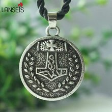 lanseis 1pcs Small Viking Norse Thors Hammer Circle Pendant Dragonsoul jewelry Mjolnir viking men Necklace