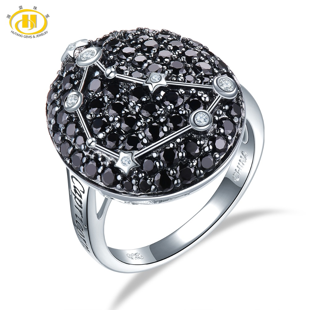 Hutang Capricorn Zodiac Rings Natural Black Spinel 925 Silver Ring Gemstone Jewelry Women Birthday Gift 22th Dec Until 19th JanHutang Capricorn Zodiac Rings Natural Black Spinel 925 Silver Ring Gemstone Jewelry Women Birthday Gift 22th Dec Until 19th Jan