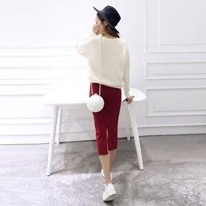Image 5 - Saia de quadril com fenda e malha feminina, saia slim com fenda, stretch, cintura longa, primavera, outono e inverno, 2020 saias