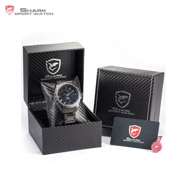 New Luxury Package SHARK Sport Watch Black Full Steel Chronograph 24 Hours Display Relogios Tag Men Military Clock / SH187+ZC156