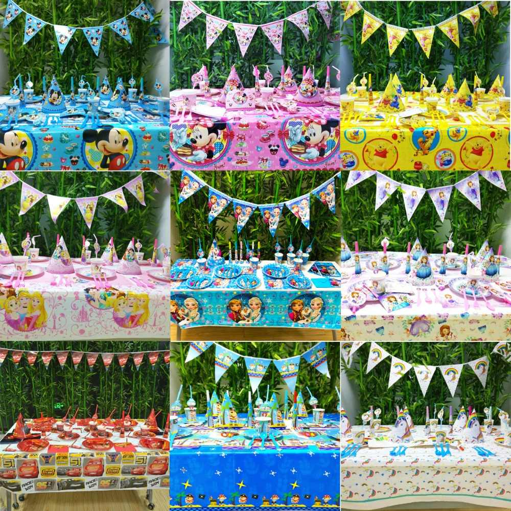 78 pçs/set Asseclas DA DISNEY Mickey Mouse Winnie Pooh Congelado Princesa Sofia Kid Birthday Party Supplies Louça Decoração Favores