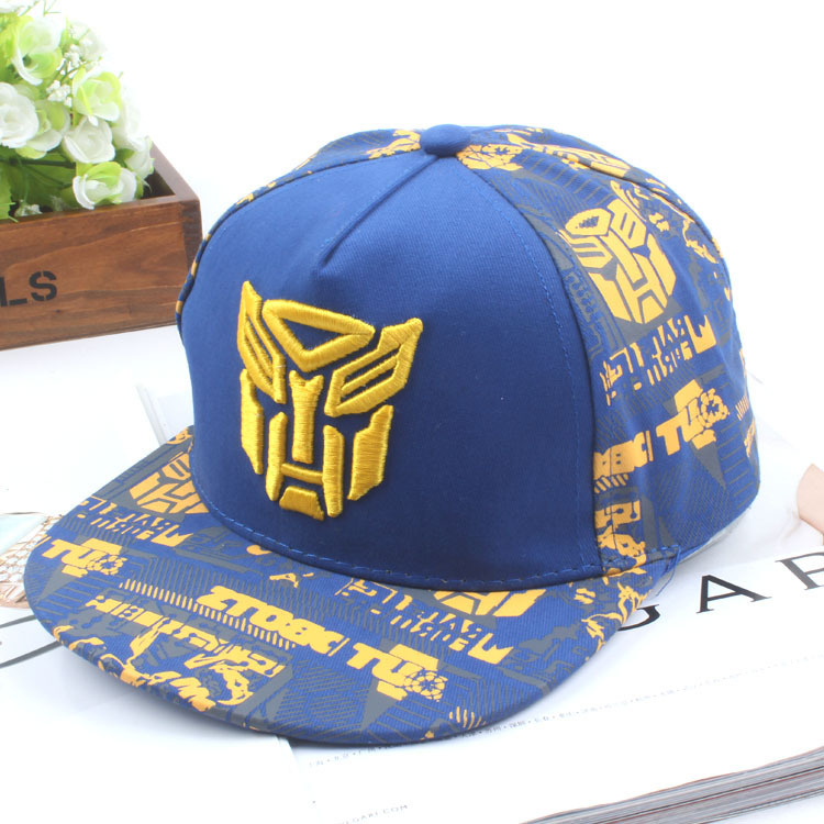 New Pattern Children Hats Embroidery Transformers Catamite Girl Flat Edge Baseball Hat Foreign Trade Hip Hop Hat