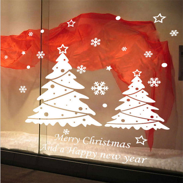 White Christmas Tree Window Stickers Winter Snowflake Wall Stickers New  Year Christmas Window Wall Decals Festival Decoration