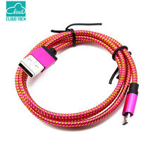 CloudTech 1M/2M/3M Metal Plug Nylon Braided Charging Cable For Android Micro USB Data Sync Smart Wire