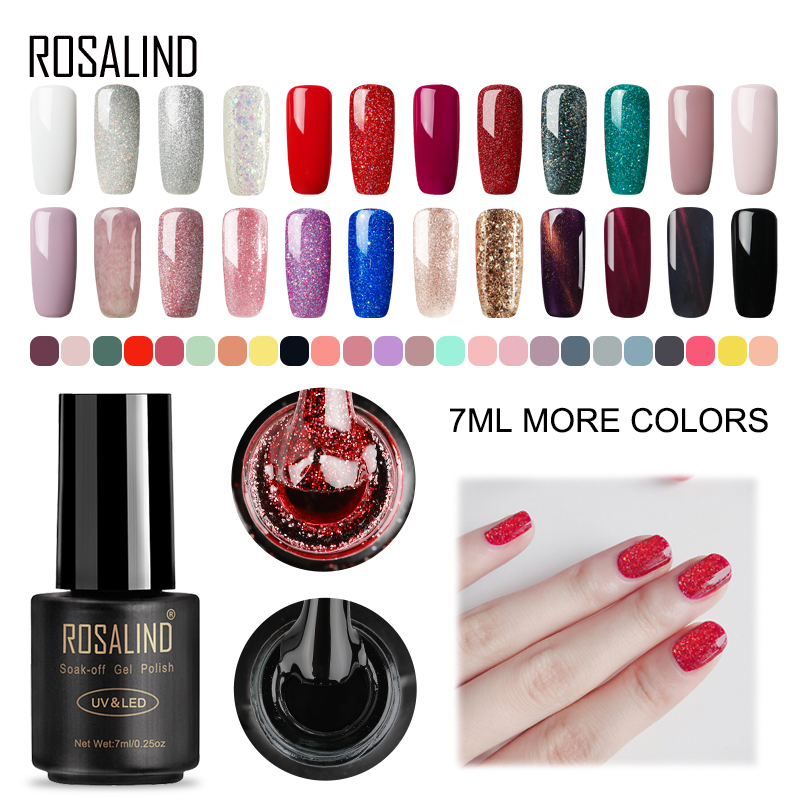 Rosalind 7 ml UV hlaup Lakkar naglalakk Sett fyrir manicure Gellak hálf-varanlegur Hybrid neglur ART frá Premier hvít hlaup nagli pólska