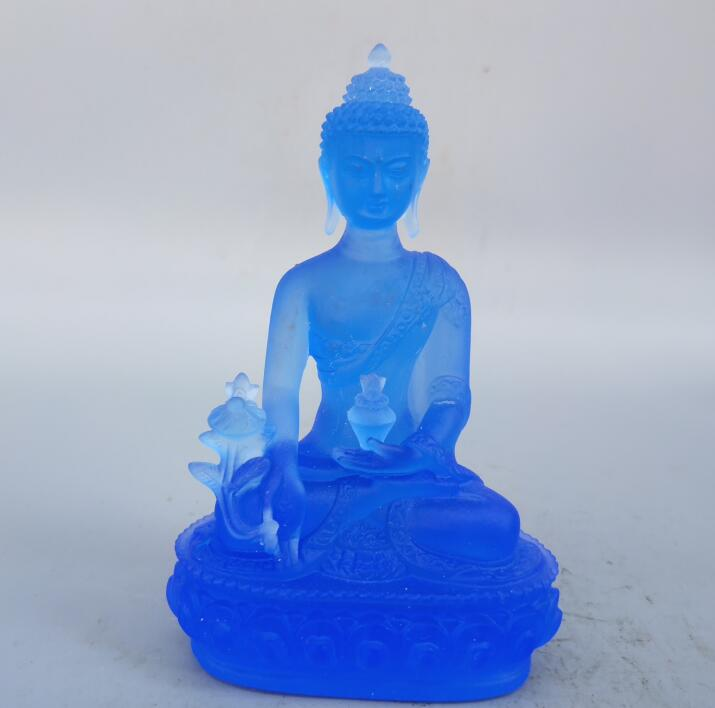 Tibetan Buddhism blue coloured glaze Medicine Buddha Statue