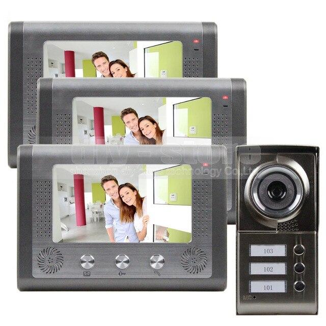 DIYSECUR New 7 inch Video Door Phone Doorbell Intercom Door Lock System Kit 1 Camera 3 Monitors IR Night Vision