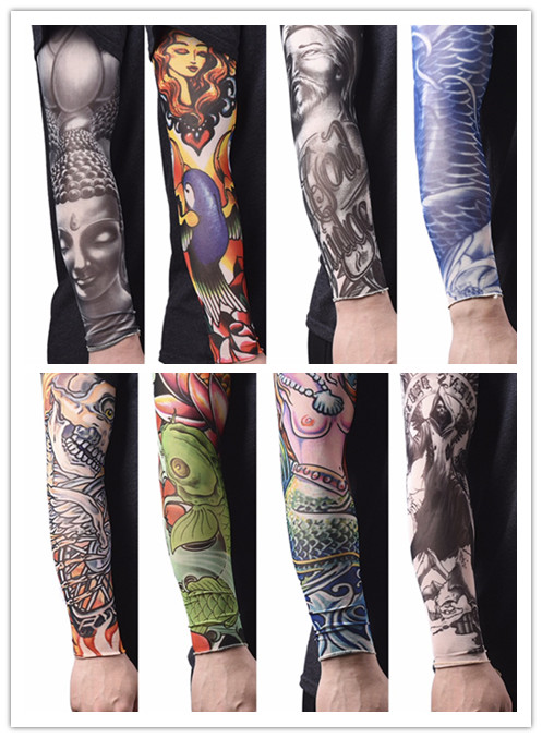 Cool Men Nylon Tatoo Arm Stockings Arm Warmer Cover Elastic Fake Temporary Tattoo Sleeves For Men Women