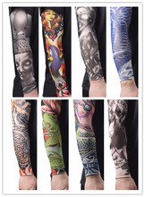 Cool Men Nylon Tatoo Arm Stockings Arm Warmer Cover Elastic Fake Temporary Tattoo Sleeves For Men Women
