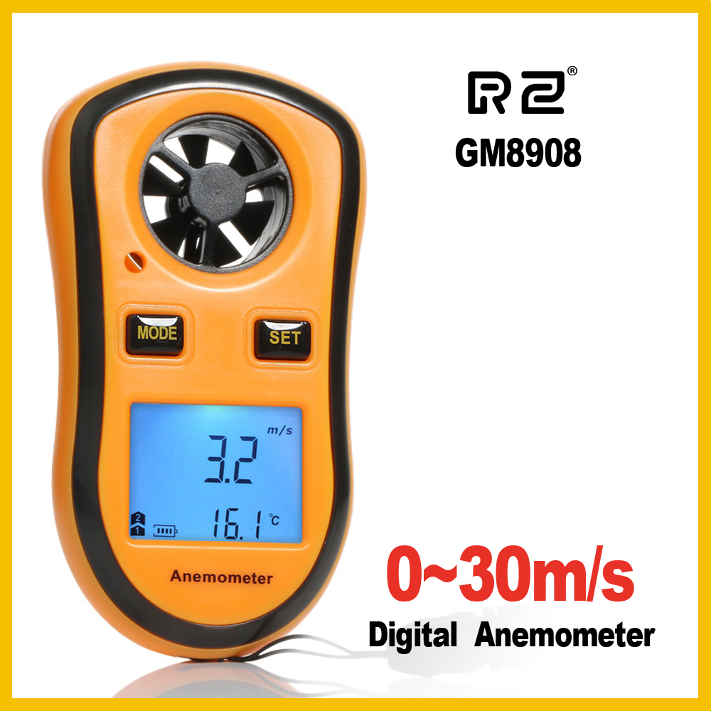 RZ GM8908 Portable Anemometer Anemometro Thermometer Wind Speed Gauge Meter Windmeter 30m/s LCD Digital Hand-held Measure tool free shipping gm8901 45m s 88mph lcd digital hand held wind speed gauge meter measure anemometer thermometer