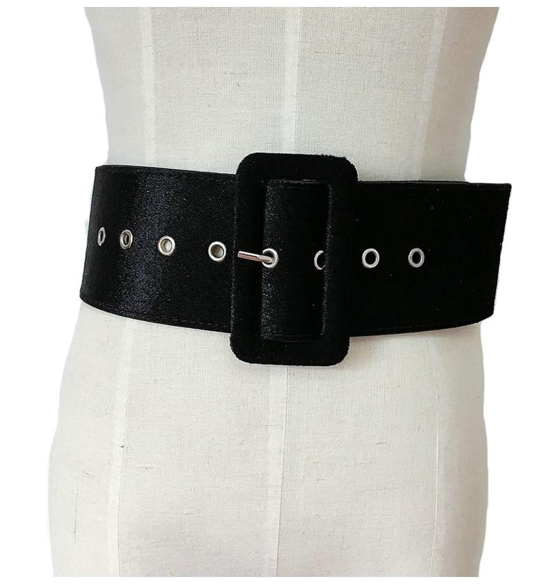 Diseño de alta calidad de la cintura de las mujeres de plata hebilla nuevo cinturón ancho mujer vestido parte señoras cinturón negro de mujer