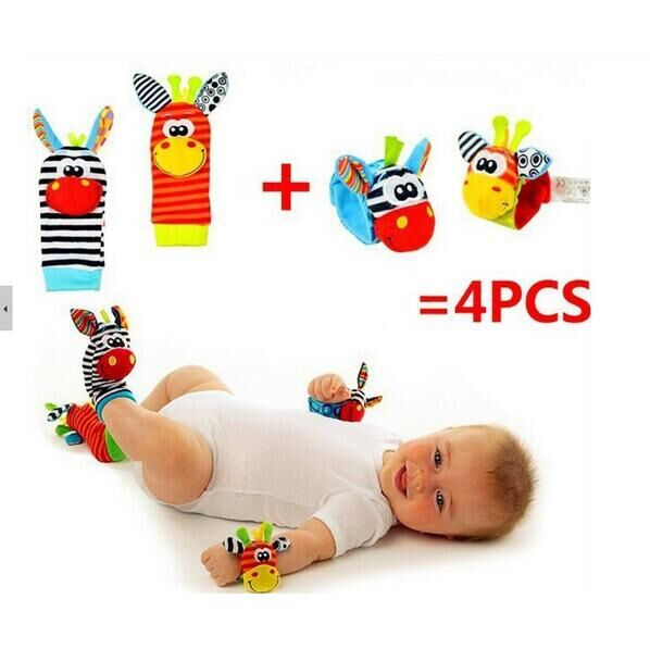 4pcs/lot=2 Pcs Waist+2 Pcs Socks, New Hot Toy Baby Rattle Toys Garden Bug Wrist Rattle And Foot Socks Free Shipping