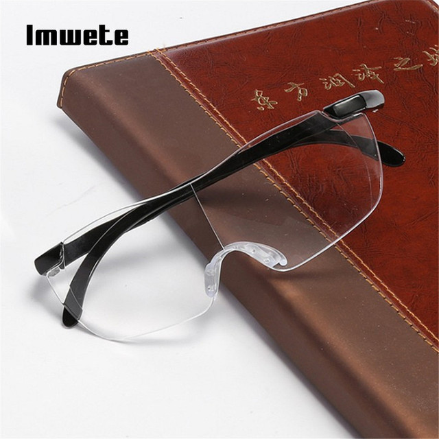Imwete Big Vision 250% Reading Glasses Men Women Frameless magnifying 1.6 times Magnifies Glasses Presbyopic +250