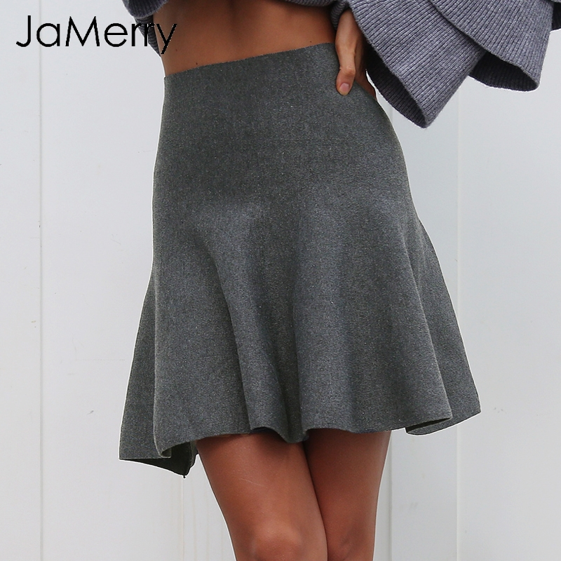 JaMerry Sexy draped pleated knitted mini skirts women Elegant winter short skirt femme High waist autumn skirts female 2019