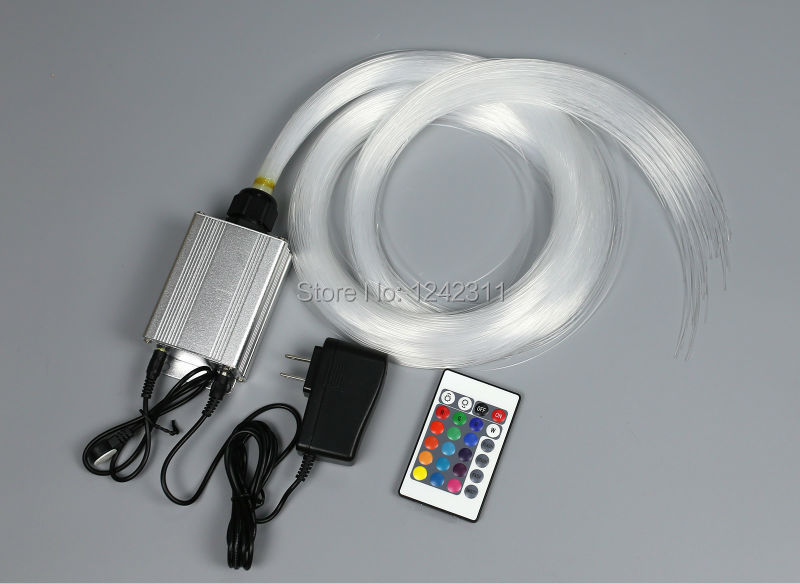 Family Mini optic fiber light kit led light source+optical fiber RGB color change stars effect wall light hypnosis lamp decoration optical fiber light kit led light engine cables tailpieces fibre optic color change twinkle effect diy stars