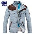 2016 nuevo invierno gruesa chaqueta de los hombres Delgado corto abajo chaqueta moda casual costura cremallera chaqueta de gran tamaño 37