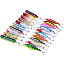 20pcs/set Minnow/Popper Lure Iscas Artificial Bait Fishing Kit Isca Artificial Lures Minnow Leurres Poppers Isca Wobblers