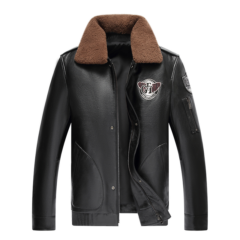 genuine leather male leather clothing motorcycle clothing leather jacket slim turn-down collar short design leather(China)