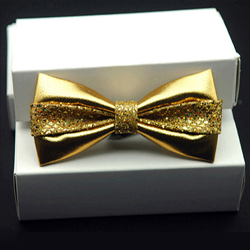 Fashion Sequin Pu Leather Men Patchwork Bow Tie Female Necktie Red Gold Silver Adult Cravate Homme Wedding Men Party Bow Ties