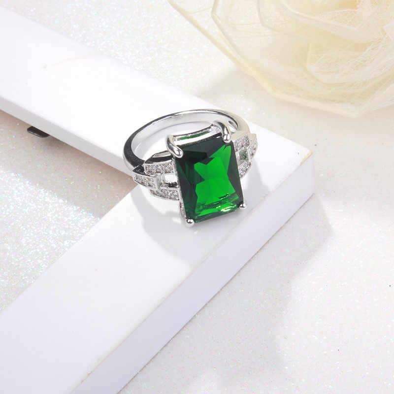 Cc jóias moda conjunto de jóias para as mulheres 925 prata esterlina jóias pedra verde cz conjuntos de casamento brinco colar anel ccas119