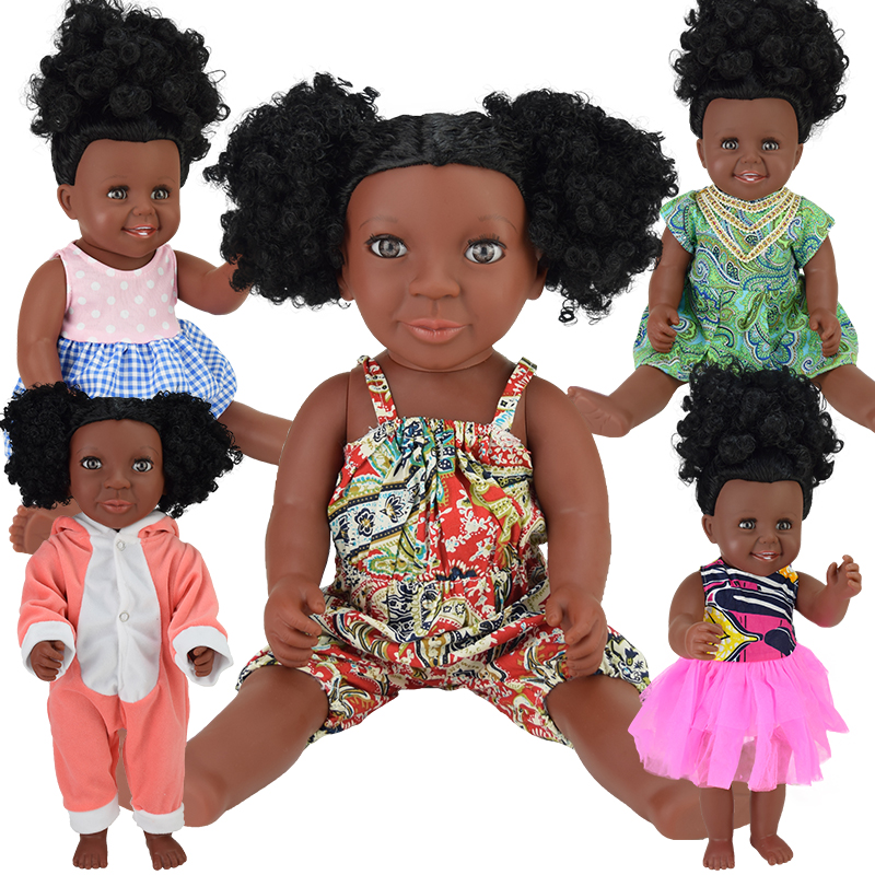 black bath! reborn baby dolls bebe 17inch fashion pop boneca Rapunzel silicone vinyl toys girls gifts children Christmas