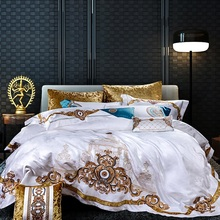 800TC 4/6/10Pcsซาตินผ้าฝ้ายRoyalชุดเครื่องนอนKing Queenผ้าคลุมเตียงแผ่นชุดงานแต่งงานผ้าคลุมเตียงหมอนShams