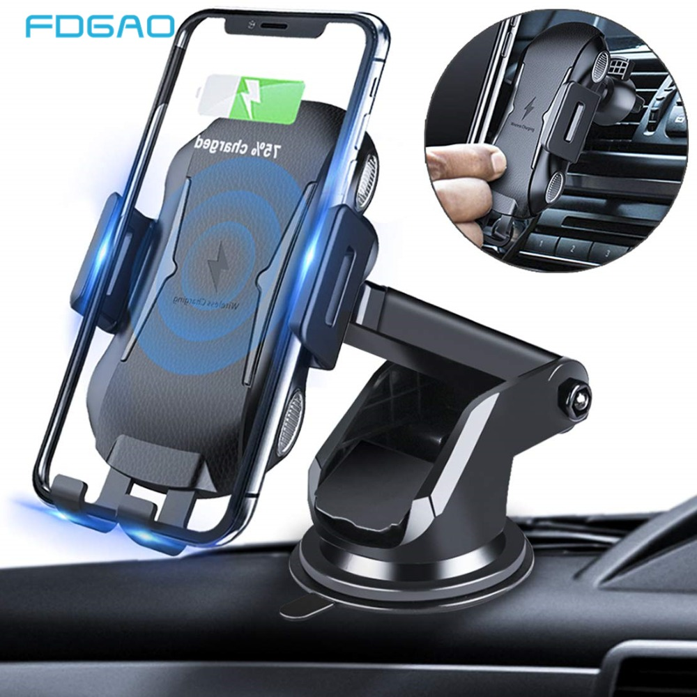 FDGAO Automatic Wireless Car Charger Mount 10W Qi Fast