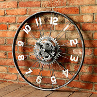 American wooden clock creative wall clock home retro living room personality decorative art mute clock