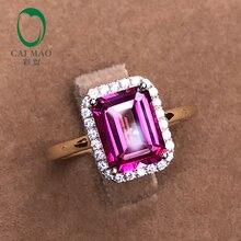 Caimao 14 k желтое золото 7x9 мм Изумрудное кольцо розовый топаз 2.61ct Проложить Набор Halo алмаз обручальное кольцо