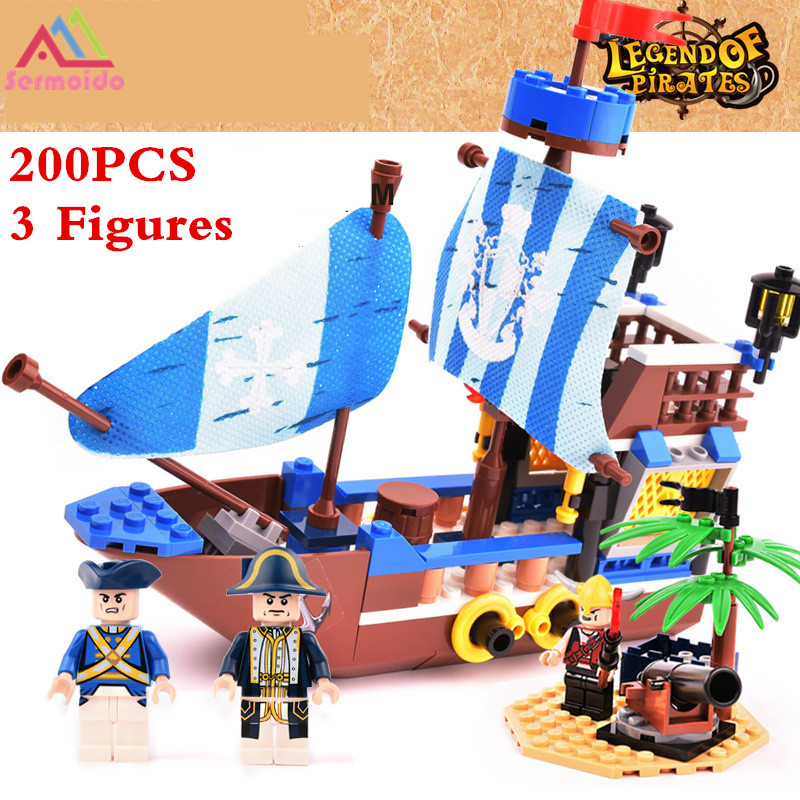 sermoido pirates ship bricks black pearl building blocks sets compatible with lego christmas gifts toys for children dbp302 in blocks from toys hobbies on