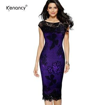 Kenancy 5XL плюс размеры для женщин карандаш платье летняя мода изысканный блёствязаный крючком Бабочка Кружево Вечерние партии Bodycon