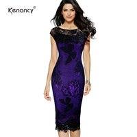 Kenancy 2017 New Arrival Women Elegant Pencil Dress Summer Fashion Exquisite Sequins Crochet Butterfly Lace Party
