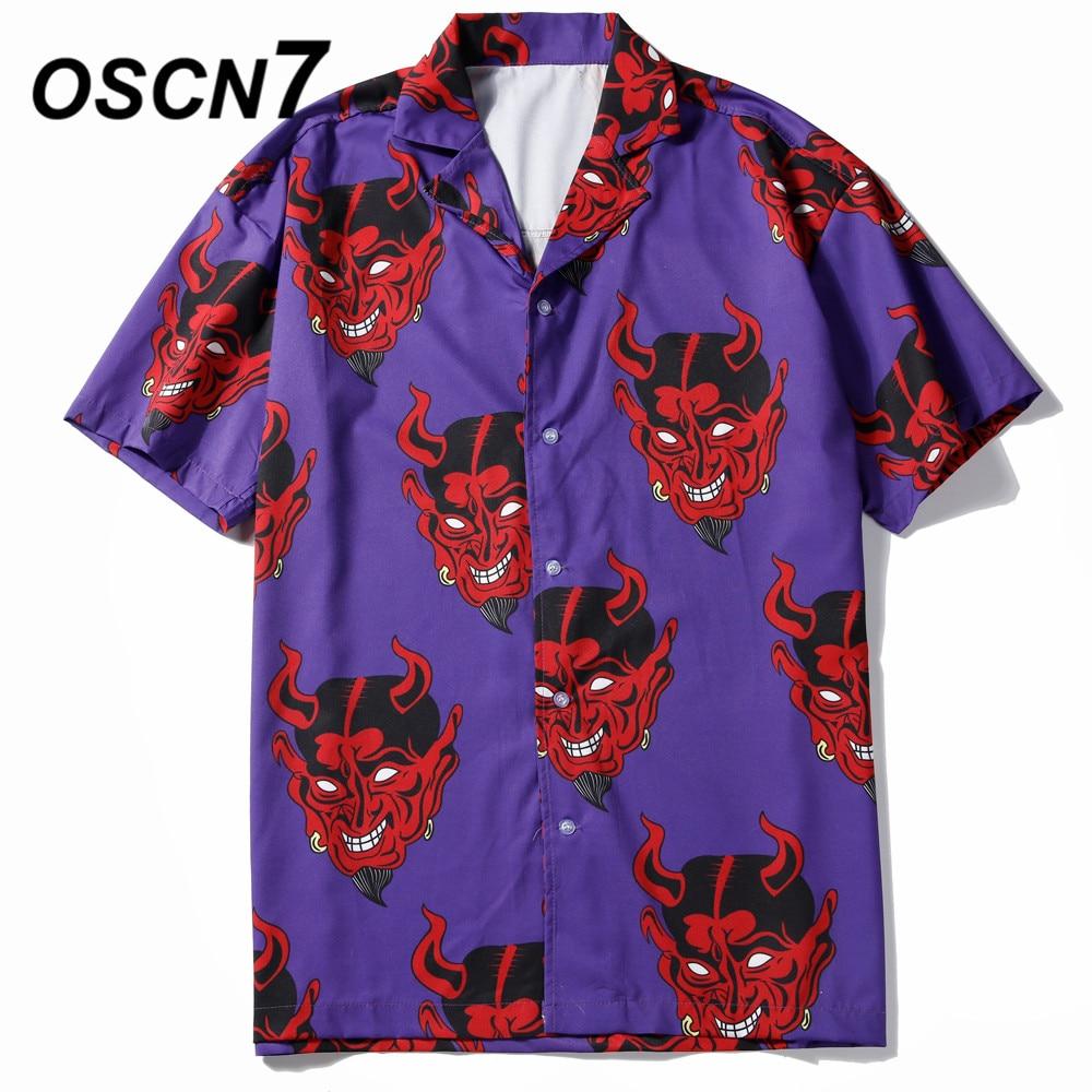 OSCN7 2019 Casual Printed Short Sleeve Shirt Men Street Summer Hawaii Beach Women Fashion Short Sleeve Shirts Harujuku Mens 369