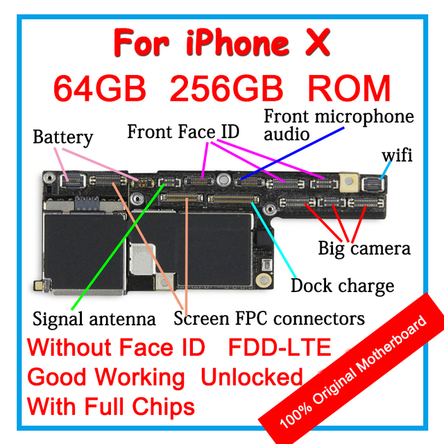 US $209 63 |Original Motherboard 64GB 256GB For iPhone X 10 100% Unlocked  Mainboard Without Face ID IOS Logic board With Full ChipsIMEI S/N-in Mobile