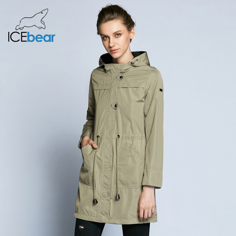 ICEbear 2019  New Arrival Spring Trench Coat Solid Color Woman Fashion Slim Coats O-Neck Collar Spring Trench Coat B17G123D