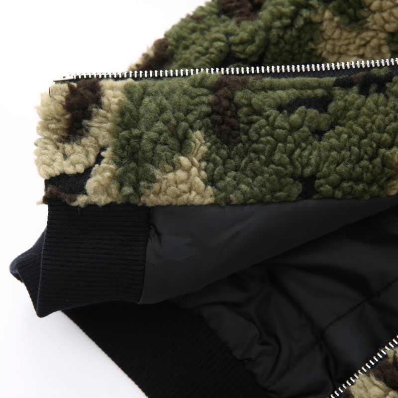 Chaqueta de Camo Sherpa de niño Balabala con Capucha forrada chaqueta con capucha de adolescente con bolsillo Slant de poliéster sedoso forrado acanalado