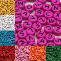 200 unids/lote 7x4mm DIY acrílico cuentas 18 colores alfabeto/letras cuentas para joyería hecha a mano collar pulsera
