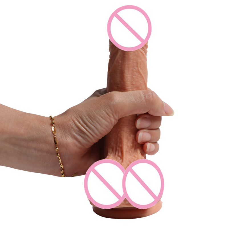 HOWOSEX Double Layered huge Dildo 18cm Realistic Dual layer Liquid Silicone soft Penis with Suction Cup for Women adult sex toy chic double layered bar ring for women