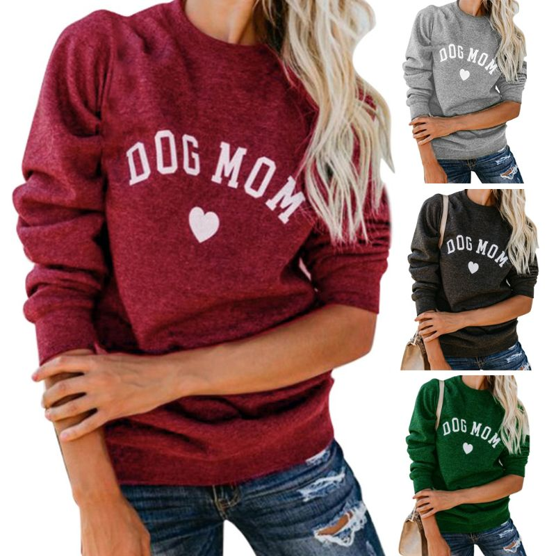 Women Dog Mom Tee Shirt Letter Print Sweatshirt Women's Casual Long Sleeve Letter Print Cute Graphic Sweatshirt Pullover Tops He
