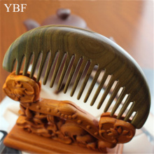YBF Professional Widen Teeth For Long Curls Fashion Half Moon Haircomb Hairdressing Health Care Green sandalwood Wooden Combs