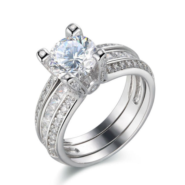 Ship From USA Solid 925 Sterling Silver Wedding Ring Sets Trendy Jewelry For Women Free Shipping