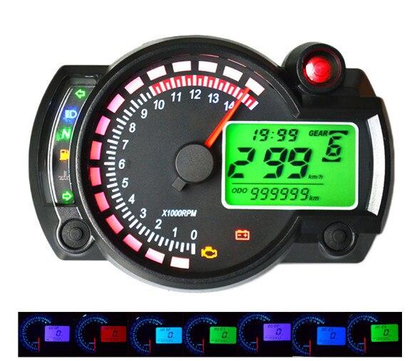 НОВЕЙШИЕ КОСО RX2N похожи ЖК-цифровой Мотоциклов пробега 7 цветов спидометр регулируемая МАКС 299 КМ/Ч